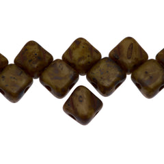 40 Czech Glass 6mm Two Hole Silky Beads Beige Picasso (13020T)