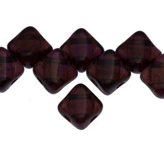 40 Czech Glass 6mm Two Hole Silky Beads Dark Amethyst Picasso (20080T)