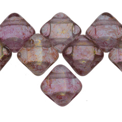 40 Czech Glass 6mm Two Hole Silky Beads Alexandrite Pink Luster (20210PL)