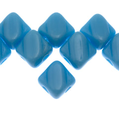 40 Czech Glass 5mm Two Hole Silky Beads Opaque Light Blue (63030)