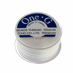 Toho One-G Nylon White Thread 50 yard bobbin
