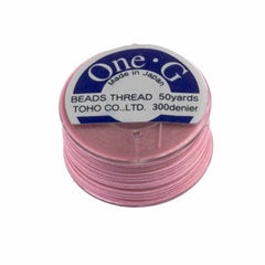 Toho One-G Nylon Pink Thread 50 yard bobbin