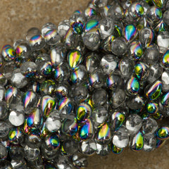 90 Czech 6x4mm Tear Drop Crystal Vitrail Beads (00030V)