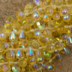 90 Czech 6x4mm Tear Drop Light Topaz AB Beads (10020X)