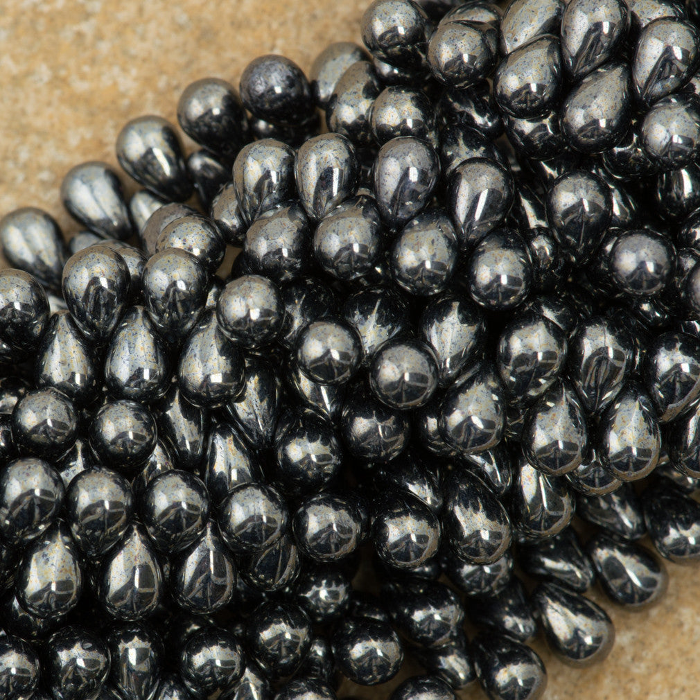 90 Czech 6x4mm Tear Drop Hematite Beads (14400)