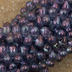 90 Czech 6x4mm Tear Drop Transparent Amethyst Luster Beads (15726)