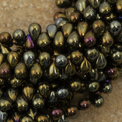 90 Czech 6x4mm Tear Drop Brown Iris Beads (21415)