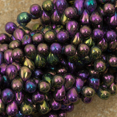 90 Czech 6x4mm Tear Drop Purple Iris Beads (21495)