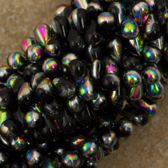 90 Czech 6x4mm Tear Drop Jet Vitrail Beads (23980V)