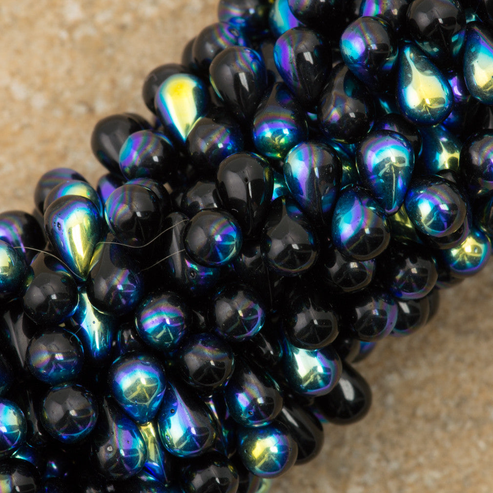 90 Czech 6x4mm Tear Drop Jet AB Beads (23980X)