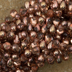 90 Czech 6x4mm Tear Drop Apollo Gold Beads (27101)