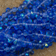 90 Czech 6x4mm Tear Drop Sapphire AB Beads (30050X)