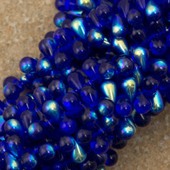 90 Czech 6x4mm Tear Drop Cobalt AB Beads (30090X)