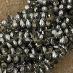 90 Czech 6x4mm Tear Drop Black Diamond Silver Beads (40010S)