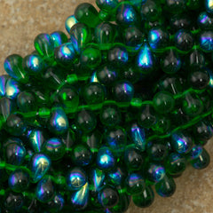 90 Czech 6x4mm Tear Drop Green Emerald AB Beads (50140X)