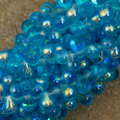 90 Czech 6x4mm Tear Drop Aquamarine AB Beads (60020X)