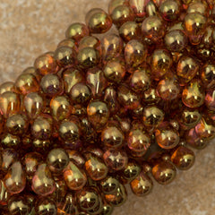 90 Czech 6x4mm Tear Drop Luster Rose Gold Topaz Beads (65491)