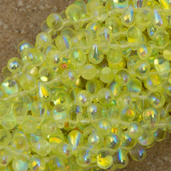 90 Czech 6x4mm Tear Drop Jonquil AB Beads (80130X)