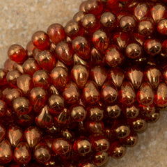 90 Czech 6x4mm Tear Drop Sunset Maple Beads (90040B)