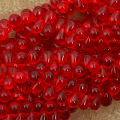 90 Czech 6x4mm Tear Drop Siam Ruby Beads (90080)
