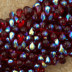 90 Czech 6x4mm Tear Drop Ruby AB Beads (90100X)