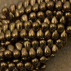 90 Czech 6x4mm Tear Drop Bronze Beads (90215)