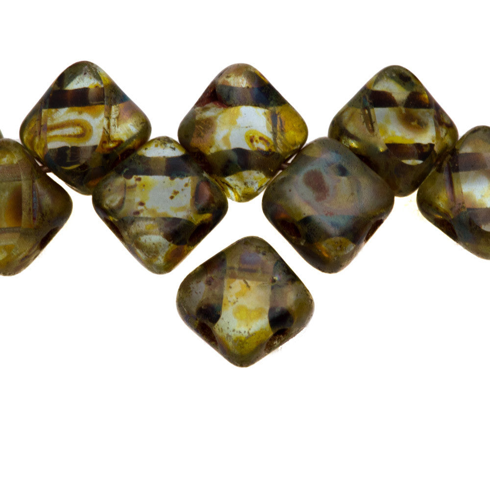 6mm Table Cut Czech Silky Diamond Beads