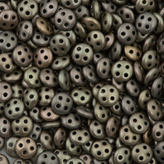 CzechMates 6mm Four Hole QuadraLentil Matte Metallic Leather Beads 15g (01670K)