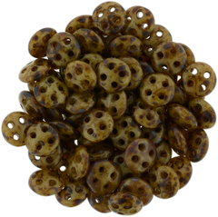 CzechMates 6mm Four Hole QuadraLentil French Beige Picasso Beads 15g (13070T)