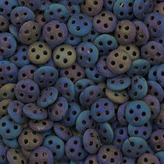 CzechMates 6mm Four Hole QuadraLentil Matte Blue Iris Beads 15g (21135)