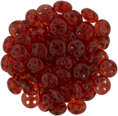 CzechMates 6mm Four Hole QuadraLentil Siam Ruby Beads 15g (90080)