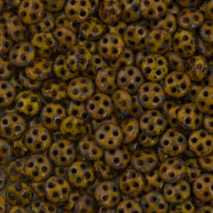 CzechMates 6mm Four Hole QuadraLentil Sunflower Yellow Picasso Beads 15g (93110T)