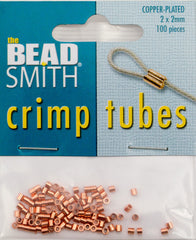 BeadSmith Copper Plated 2x2mm Crimp Tube Beads