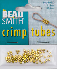 BeadSmith Gold Plated 2x2mm Crimp Tube Beads