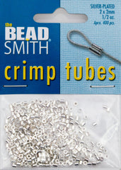 BeadSmith .5 Ounce Silver Plated 2x2mm Crimp Tube Beads