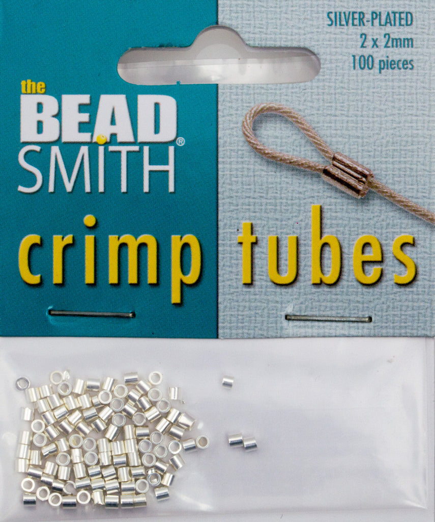 BeadSmith Silver Plated 2x2mm Crimp Tube Beads