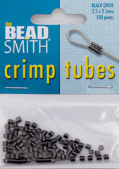 BeadSmith Black Oxide 2.5x2.5mm Crimp Tube Beads