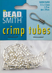 BeadSmith .5 Ounce Silver Plated 2.5x2.5mm Crimp Tube Beads
