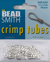 BeadSmith Silver Plated 2.5x2.5mm Crimp Tube Beads