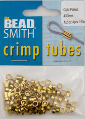 BeadSmith .5 Ounce Gold Plated 4x3mm Crimp Tube Beads