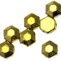 30 Czech 2 Hole Crystal Amber Gold Full Honeycomb Jewel Beads 6mm (00030GF)