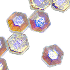30 Czech 2 Hole Crystal Full AB Honeycomb Jewel Beads 6mm (00030XX)