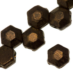 30 Czech 2 Hole Dark Bronze Honeycomb Jewel Beads 6mm (14415)
