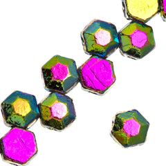30 Czech 2 Hole Jet Full Vitrail Honeycomb Jewel Beads 6mm (23980V2X)
