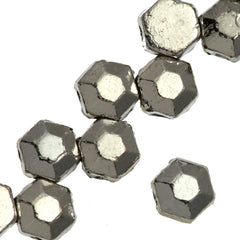 30 Czech 2 Hole Silver Honeycomb Jewel Beads 6mm (27000)