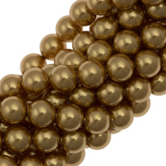 100 Swarovski 5810 6mm Round Bright Gold Pearl Beads