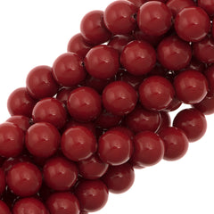 100 Swarovski 5810 6mm Round Red Coral Pearl Beads