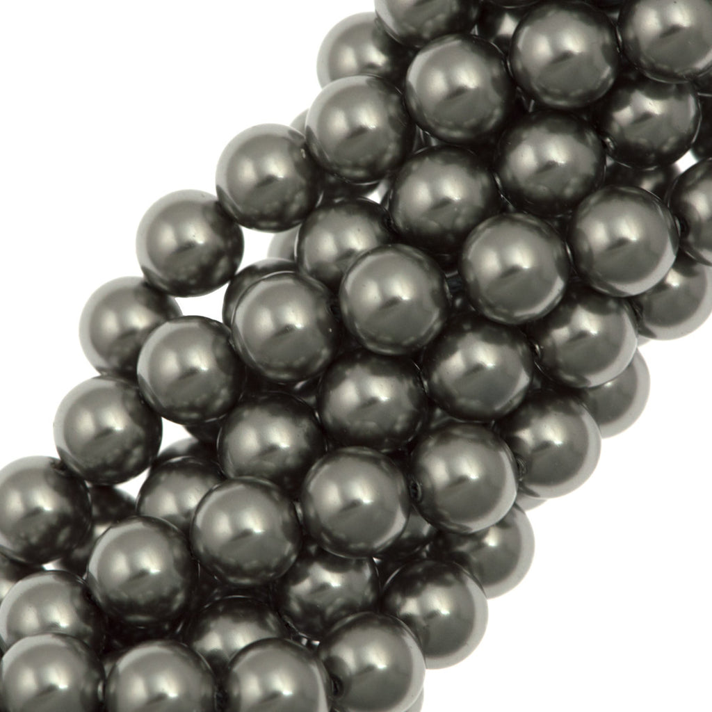 100 Swarovski 5810 6mm Round Grey Pearl Beads