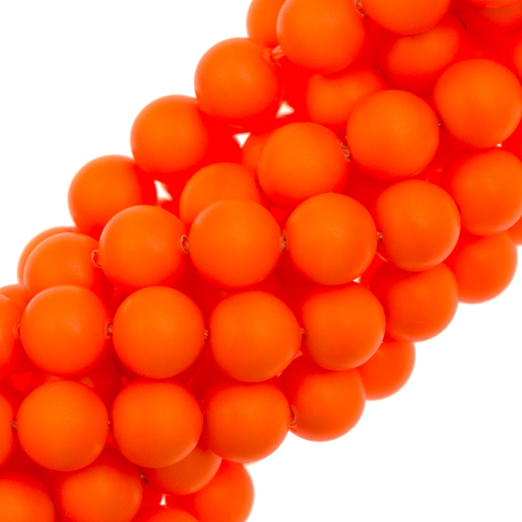 100 Swarovski 5810 6mm Round Neon Orange Pearl Beads