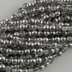 200 Czech 4mm Pressed Glass Round Beads Half Coat Silver (27001)